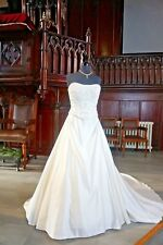 Strapless Ivory Wedding Gown Embroidered & Beaded Bodice Duster Train 14