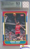 1986 Fleer Michael Jordan Rookie Replica+GAME USED JERSEY BGS 9.5 GEM MINT GGUM