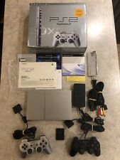Sony Playstation 2 PS2 Console Satin Silver w/2 Controllers, Complete in Box