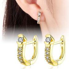1 Paar Creolen Ohrringe Gold 18K vergoldet 5 Zirkonia Damen Ohrstecker Strass