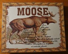 Vintage Style MOOSE DESCRIPTION CANVAS SIGN Rustic Lodge Cabin Home Decor - NEW