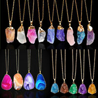 Waterdrop Natural Druzy Rock Crystal Pendant Necklace Quartz Clusters Stone Gift
