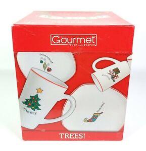Fitz & Floyd Christmas Holiday Gourmet Porcelain Latte Mug & Plate Set