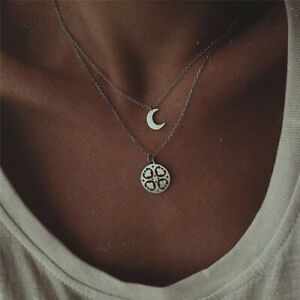 Double Layer Silver Heart Moon Pendant Necklace Clavicle Chain Choker Women Gift