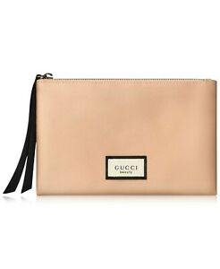 GUCCI Beauty Authentic Makeup Pouch cosmetic beige tan nude silky pouch Bag NEW