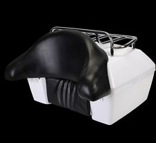 White Motorcycle Trunk Case Tail Box Rack Backrest For Harley Touring Cruiser