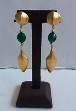 """Vintage Robert Lee Morris 24k Gold Plate & Green Bead 3-1/4""""  Clip Earrings"""