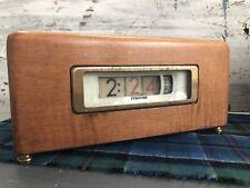 Vintage Midcentury Working Flip Tymeter Clock Numechron, Wooden Electric Flip