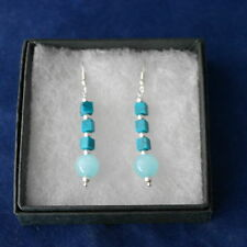 Beautiful Silver Earrings With Turquoise And Opaline.3.5 Cm.+ Hooks In Gift Box