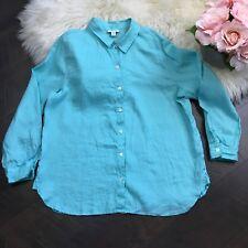 J Jill Top Love Linen Long Sleeve Button Down Shirt 100% Linen Sz M Petite