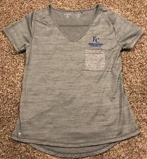 MLB Kansas City Royals Womens S Gray V Neck Stretch T Shirt A37