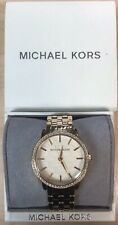 NWT Michael Kors MK3120 Glitz Gold MK Logo Stainless Steel Bracelet Watch