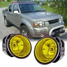 For 01-04 Nissan Frontier Winjet OE Factory Fit Fog Light Bumper Kit Yellow Lens