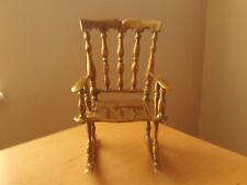"""Vintage Large Solid Brass Rocking Chair Ornament For Doll/Teddy~Roughly 9 3/4"""" H"""