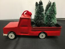 NEW Pottery Barn Sentimental Red Metal Truck 4 Pine Trees Christmas Ornament