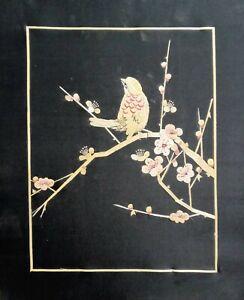 "Wall Art 2 Wheat Stalk Hand Cut Painted On Silk 9 x11"" Bird And Flower Scene"