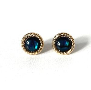 Vintage 9CT Yellow Gold Blue/Green Colour Stone Earrings - Butterfly Fastening