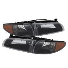 Pontiac 97-03 Grand Prix Black Housing Replacement Headlights + Corner Pair Set