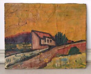 Antique Gouache Painting Expressionist Landscape Karl SCHMIDT-ROTTLUF circa 1910