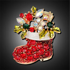 1X Rhinestone Crystal Christmas Stocking Boot Pin Brooch Xmas Gift Gold Tone NN
