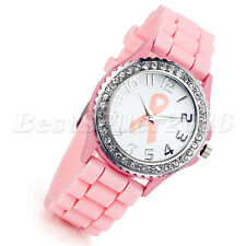 Womens Rhinestone Bracelet Bezel Silicone Rubber Jelly Dress Quartz Wrist Watch