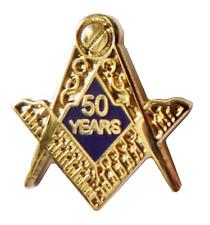 Square & Compasses 50 Years Cut Out Freemasonry Masonic Pin Badge