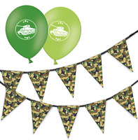 army green camouflage bunting & assorted green mix  tank balloons pack of 10