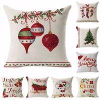 Christmas Cotton Linen Pillow Case Throw Waist Cushion Cover Sofa Home Decor UU