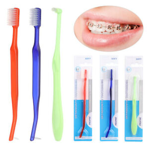 Orthodontic Toothbrushes Double-Ended Interdental Brush Cleaning Ortho Braces/