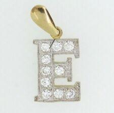 9ct Gold Pendant - 9ct Yellow Gold Cubic Zirconia Letter 'E' Charm Pendant