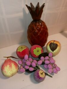 Artifical Fruit LARGE Pineapple,  3 Apples, Pear,  Plum and 2 purple grapes