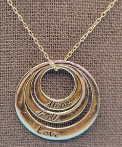 FAITH HOPE LOVE Circle Pendant (3 pieces) Necklace .925 Sterling Silver Thailand