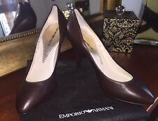 Brand New Emporio Armani Brown Leather Pump Shoes Size 38