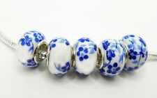 5 Ceramic large hole beads to fit European charm bracelet or necklace Blue # 15