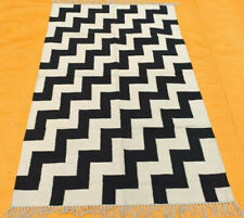 Large Cotton B/W Kilim Area Rug For Bedroom 4X6 Modern Area Carpet Rug Handmade