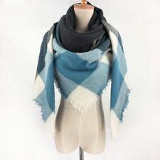 Echarpe Etole Plaid Hiver Grand Carré Femme Carreaux Bleu, Blanc  Franges MBBF830 7ad0d079c14