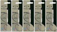 5X Parker Ball Point Pen Refill Refills, Medium Tip, Black Ink,