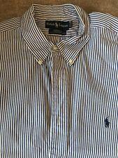 Ralph Lauren Blue Rayas Blancas Mangas Largas Camiseta Talla 17 1/2 Algodón