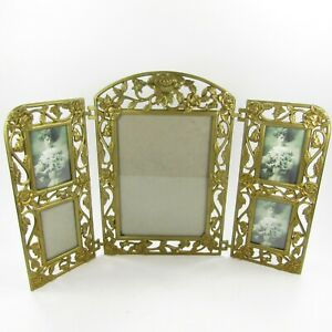 Collage Photo Picture Frame Freestanding Table top Ornate Gold-tone Floral Rose