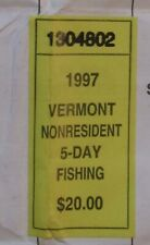 1997 Vermont Non-Resident 5-Day Fishing Stamp on Vermont Sporting License