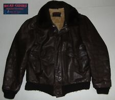 VTG 60s 70s LEATHER G-1 Bomber Jacket Brown Made in USA Size Men's MT (42 Tall)