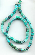 "CARVED HUBEI TURQUOISE CYLINDER BEADS - 621A - 16"" Strand"
