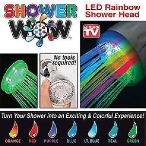 LED Shower Head 7 Colours multicoloured Changing Rainbow Vibrant New WOW UK