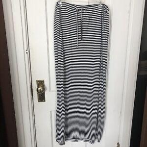 Vince Camuto Maxi Skirt Womens Size L Black White Stripe Large Long Modesty