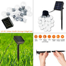 WHITE BRIGHT HANGING OUTDOOR 10 SOLAR  STRING BULB LED FAIRY LIGHTS GARDEN PARTY