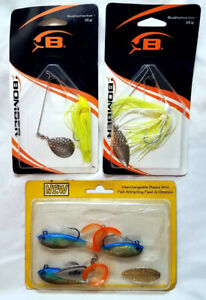 3 Bass Fishing Lures - 2 Spinner Baits by Bomber & 1 Storm Curl Tail Spin Shad