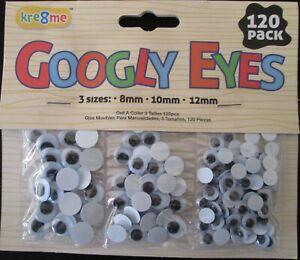 Joggle Movable Black Eye Wiggly Google Googly Eyes Craft Stick On Art Craft 120