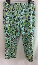 CHICO'S Sz 1 (8) Floral Print Multi Color Cropped Pants Capris in EUC (c10)