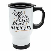 Travel Mug - Free your mind from worries - White Stainless Steel - Motovation, L