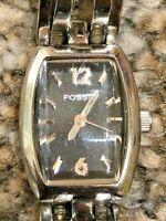 Retro Chic Designer Fossil ES2120 Black Dial Stainless Steel Ladies WR50M Watch